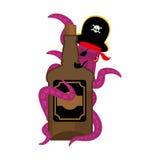 Krakenpirat und Flasche Rum poulpe Piratenschiff und Weinbrand e lizenzfreie abbildung