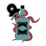 Krakenpirat und Flasche Rum poulpe Piratenschiff und Weinbrand e vektor abbildung