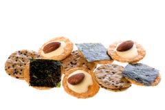 krakersy odizolowanych ryżu Zdjęcia Stock