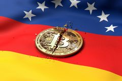 Krakingowa Bitcoin moneta na wenezuelczyk fladze Zły Bitcoin warunek w Wenezuela pojęciu świadczenia 3 d ilustracja wektor