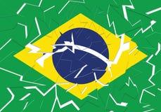 Krakingowa brazylijczyk flaga w oddzielnych kawałkach obraz royalty free