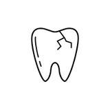 Krakingowa ząb linii ikona, Zdjęcia Stock