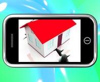 Krakingowe podstawy Na Smartphone Pokazuje Uszkadzającego dom ilustracja wektor
