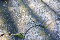 Krakingowy azbest ciąć na arkusze starego dach Azbestowi gonty naprawa i usunięcie Obrazy Stock