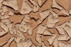 Krakingowy błoto w pustyni patrzeje jak garncarstwo kawałki w Oman w środkowym wschodzie fotografia stock