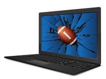 Krakingowy laptopu futbol amerykański ilustracja wektor