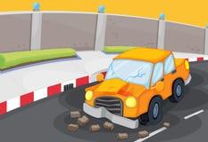 Krakingowy samochód przy drogą royalty ilustracja