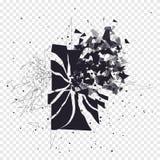 Krakingowy telefonu ekran rozbija w kawałki Łamany smartphone rozszczepiający wybuchem Pokaz telefon rozbijający nowoczesne urząd ilustracji