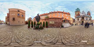 Krakov - 2018: Monument of Pope John Paul II in Krakow. 3D spherical panorama with 360 viewing angle. Ready for virtual reality. F royalty free stock photo