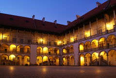 Krakow. Courtyard of Wawel Royal Castle at night - Cracow, Poland.Cracow's Historic Centre is on World Heritage List Royalty Free Stock Photography
