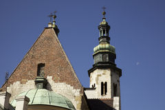 Krakow. Tops of the churches in Krakow Poland Royalty Free Stock Photography