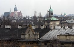 Krakow. Panorama of Krakow with churches in the background Royalty Free Stock Photo