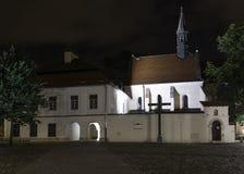 Krakow,  Adam Studziński suare in night Royalty Free Stock Photography