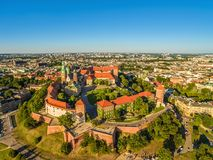 Krakow aerial view - old town. Cracow Landscape with the Castle and Wawel Cathedral. Stock Image