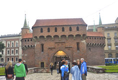 Krakow August 19,2014:The Barbican in Krakow,Poland Royalty Free Stock Photography