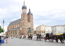 Krakow August 19,2014:Carriage row in Krakow,Poland Royalty Free Stock Photography