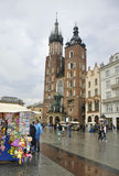 Krakow August 19,2014: Saint Marys Basilica from Krakow City Poland Stock Photo
