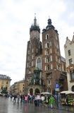 Krakow August 19,2014: Saint Marys Basilica from Krakow City Poland Stock Photo