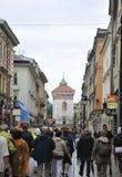 Krakow August 19,2014:Street in the Historic City of Krakow,Poland Royalty Free Stock Photography