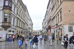 Krakow August 19,2014:Street in Krakow,Poland royalty free stock image