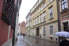 Krakow August 19,2014:Street in Krakow,Poland. Street in Krakow from Poland in a rainy day of august Royalty Free Stock Images