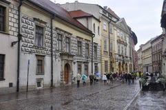 Krakow August 19,2014:Street in Krakow,Poland. Street in Krakow from Poland in a rainy day of august Stock Images