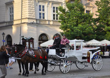 Krakow,august 19th 2014 - Carriage for city tour in Krakow,Poland royalty free stock photography