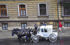Krakow,august 19th 2014 - Carriage for city tour in Krakow,Poland Royalty Free Stock Image