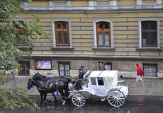 Krakow,august 19th 2014 - Carriage for city tour in Krakow,Poland Royalty Free Stock Photo