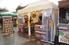 Krakow,august 19th 2014 - Market stall in Krakow,Poland royalty free stock image