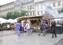 Krakow,august 19th 2014 - Market stall in Krakow,Poland Royalty Free Stock Image