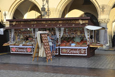Krakow,august 19th 2014 - Market stall in Krakow,Poland Royalty Free Stock Photography