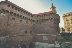 Krakow barbakan w Krakow, Polska Zdjęcia Stock