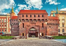 Krakow Barbican medieval defensive fortress Stock Photos