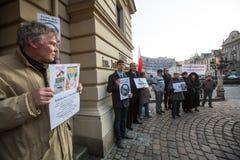 krakow Cartazes: Ucrânia sem Putin, e Putin - ladrão Foto de Stock