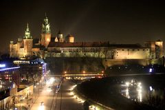 Krakow, castle at night Stock Photo