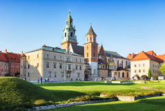 Krakow castle Wawel at sunset Royalty Free Stock Images