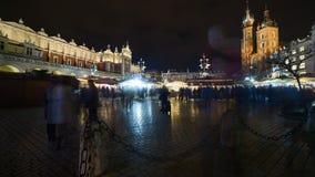 Krakow Christmas market timelapse stock video