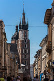 Krakow, Church of St. Mary. Krakow, Poland - June 12, 2015: A view of the towers of St. Mary's Church in Krakow, the former capital of Polish. One of the most Royalty Free Stock Images