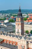 Krakow city view from the top - in a square Shopping Arcade and. The Tower Hall Clock Stock Photo