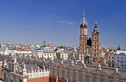 Krakow cityscape with St Mary cathedral Stock Photos