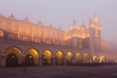 Krakow Cloth Hall in fog Royalty Free Stock Photo