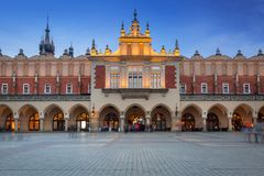 The Krakow Cloth Hall on the Main Square at dusk Royalty Free Stock Photo