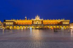The Krakow Cloth Hall on the Main Square at night Stock Photo