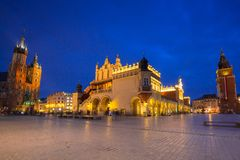 The Krakow Cloth Hall on the Main Square at night. Poland Royalty Free Stock Image