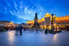 The Krakow Cloth Hall on the Main Square at night. Poland Stock Photography