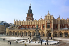 Krakow - Cloth Hall - Main Square - Poland. The Cloth Hall (Sukiennice) and Town Hall Tower in the main market square (Rynek Glowny) in Krakow in Poland. The Stock Photography