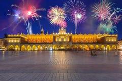 The Krakow Cloth Hall at night, Poland. Years firework display in Krakow, Poland Stock Photography