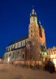 Krakow em a noite Imagem de Stock Royalty Free