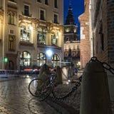 Krakow historyczny centrum w wieczór Fotografia Stock